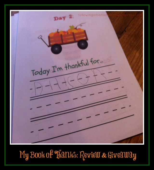 My Book of Thanks: a 25 Day Gratitude Journal for Kids www.followinginhisfootsteps.wordpress.com #reviews #givingthanks